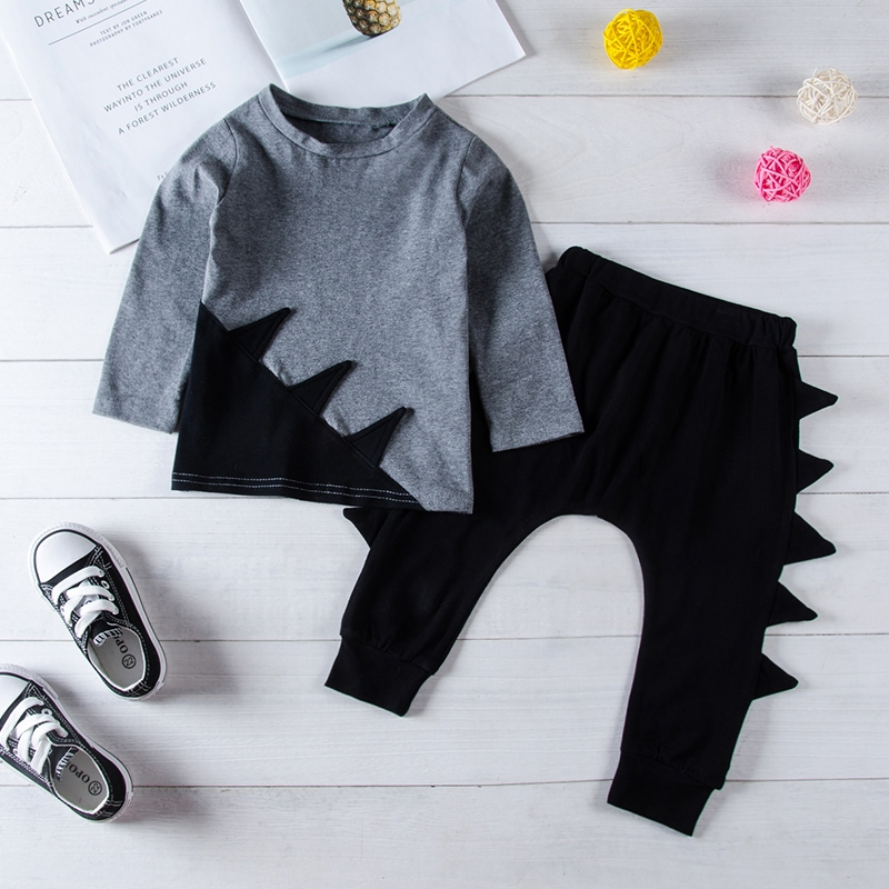 48cd53989 Toddler Kids Baby Boys Long Sleeve Color Matching T-shirt Tops+ Dinosaur  Pants Outfits Clothes 2PCS Gray GH390A 90