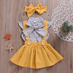 3PCS Kids Baby Girls Dots Tops Tutu Dress Skirt Bow Headband Party Clothes Outfits Set yellow WWW116A 90