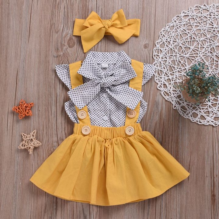 3PCS Kids Baby Girls Dots Tops Tutu Dress Skirt Bow Headband Party Clothes Outfits Set yellow WWW116A 80