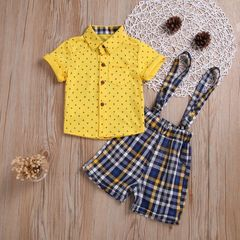 Newborn Baby Boy Gentleman Clothes Sets Short sleeve Tops With Grid Suspender Shorts 2Pcs Suits yellow XB135A 90