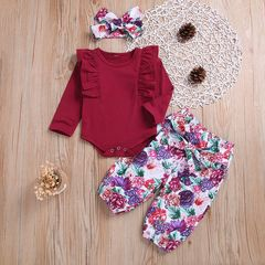 Newborn Baby Girls Long-sleeved Lace Romper+Flower Pants+Headband Set Outfits Clothes 3Pcs wine red CR054A 70