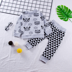 Toddler Kids Baby Boys Girls Bear Long Sleeve T-shirt Tops+ Triangle Pants Outfits Clothes 2PCS Gray MN043A 90