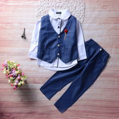 High level Toddler Kids Boys Gentleman suit Set Shirt + Waistcoat + Suit pants  Formal Outfits 3PCS Dark blue HH051A 100