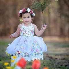 Kids Girls Lace Gauzy Dress Floral One-piece dress Birthday Wedding Party  Princess Tutu Dress Blue GG245A 100