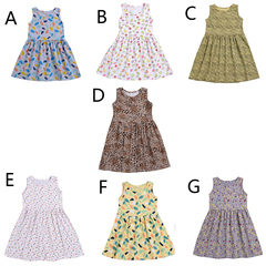 Toddler Kids Girls Flower Dots Fruits Feather Sleeveless One-piece Dress Party Tutu Dress A XB128E l