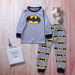 Batman pajamas Toddler Kids Boys Red T-shirt+Batman Pants Set Children's clothing 2PCS Gray GG139A 90