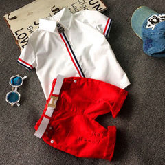 Newest Fashion Kids Boys Leisure Suit New Korean Short Sleeved Shirt Shorts Set Spot Feeding Red GC037A 90