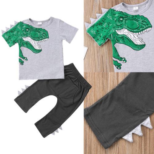 2PCS Toddler Kids Baby Boy Girl Dinosaur T-shirt Top + Pants Outfits Clothes Set Gray GH257A 90