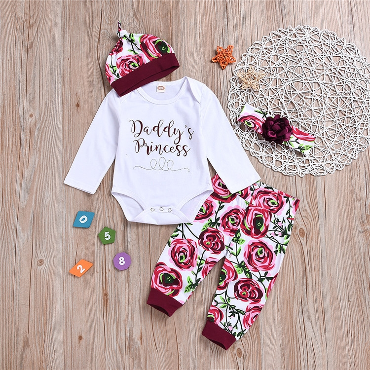 b1b7ac8d Newborn Baby Boys Girls Long-sleeved Pincess Romper+Flower Printing Pants+Hat  Set Outfits Clothes Wine red WWW061A 90: Product No: 10525302. Item  specifics ...