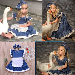 Maid Outfit Kids Baby Girls Lace Fly Sleeve One-piece Dress+Bowknot Headband Dress Clothes Set Blue GH441A 100