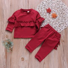 Newborn Baby Girls Casual Set Long Sleeve Falbala Ruffled Tops+Pants Set Outfits Clothes 2PCS Red BB010A 70