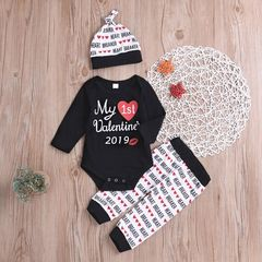 Newborn Baby Girls Boys Long-sleeved Romper+Heart Pants+Hat Set Outfits Baby Clothes 3PCS Black GX762A 70