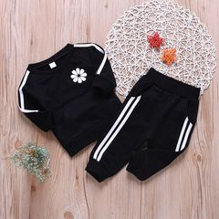 Newborn Baby Boys Casual Set Long Sleeve Stripe Flower Tops+Pants Set Outfits Clothes 2PCS black gx764a 70