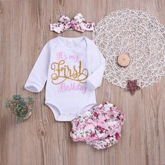 Newborn Baby Girls Long Sleeve Romper Tops+Flower Lace Shorts+Headband Set Outfits Clothes 3PCS white cr058a 70