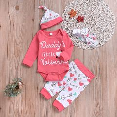 Newborn Baby Girls Long-sleeved Romper+Heart Pants+Hat+Headband Set Outfits Clothes 4PCS Pink gx747a 70