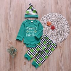 Newborn Baby Boys Girls Four-leaf Clover Romper+Stripe Pants+Hat Set Outfits Clothes 3PCS Green GX780A 70