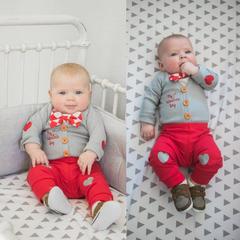 Gentleman Newborn Kids Baby Boys Bow Tie Romper Tops+Coat+Pants Clothes Outfits Set 3PCS Gray CR057A/GX816A 100