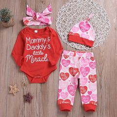 Newborn Baby Girls Long-sleeved Romper+Heart Pants+Hat+Headband Set Outfits Clothes 4Pcs Red CR056A/GX815A 70