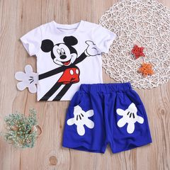 Disney Toddler Kids Baby Boys Short Sleeve Cartoon Mickey T-shirt Tops+ Palm Shorts Outfits Clothes Blue XB145A s