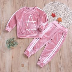 Toddler Kids Girls Hip hop Casual Flannelette Set Long Sleeve Tops Pants Set Outfits Clothes Pink ZT010A 90