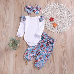 Children clothes Newborn Baby Girls Long-sleeved Floral Romper+Pants+Headband Set Outfits Clothes white GX792A 70