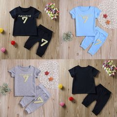 Children clothes Newborn Baby Boys Short Sleeves Tops+Pants Set Outfits Clothes Deep blue XB148A 70