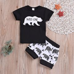 Newborn Baby Boys Short Sleeves White Bear WILD ONE Tops+Shorts Set Outfits Clothes Black GX757A 80