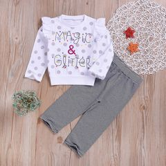 Toddler Kids Baby Girls Dots Ruffled Tops Stripe Pants Leggings Set Outfits Clothes Gray ZT012A 90