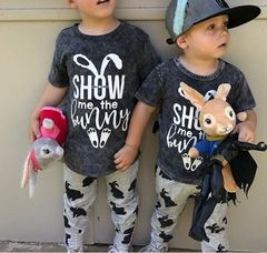 Toddler Kid Baby Girls Boys Rabbit Outfits Clothes T-shirt Tops+Pants Outfits Clothes Sets Gray GX820A 80