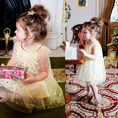 Toddler Kids Baby Girls Stars Holiday Ruffled Gauzy Dress Princess Party Tutu Dresses yellow cr060a 100