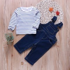Newborn Baby Boys Girls Long Sleeve Stripe T-shirt Tops+Denim Suspender Trousers Pants Set Outfits Blue GX744A 70