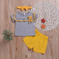 Toddler Kids Newborn Baby Girls Ruffled Tops+Shorts+Headband Set Outfits Clothes yellow CR061A 70