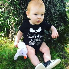 Newborn Baby Boys Short Sleeve Nightmare Romper Jumpsuit Bodysuit Clothes Outfits Black GX811A 70