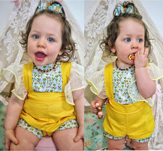 Newborn Baby Girls Strawberry Floral Lace Fly Sleeve Romper Jumpsuit  Bodysuit Outfits 0-24M Yellow GG423A 70