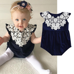 Newborn Baby Girls Flower Lace Ruffled Romper Jumpsuit Bodysuit Clothes Outfit 0-24M Mazarine GH142A 70
