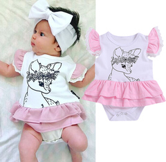 Bambi Fawn Newborn Baby Girls Lace Ruffled Romper Jumpsuit Bodysuit Clothes Outfit 0-24M White GH433A 70