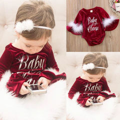 Newborn Baby Girl Velvet Romper Girls Feather Decoration Horn Sleeve Romper Jumpsuit Outfits Clothes Wine red WWW127A 70