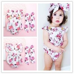 Newborn Baby Girls Floral Flower Rompers+Headband Set 2Pcs Jumpsuits Bodysuit Pink gg306a 70