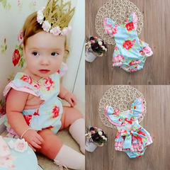 Newborn Baby Girls Floral Flower Fly sleeve Rompers Jumpsuits Bodysuit 0-24M Green GG237A 70