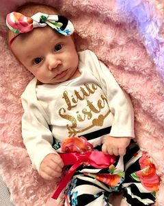 Newborn Baby Girls Gold Rompers Print Tops+Flowers Striation Pants Outfits Clothes 2PCS white GC196A 70
