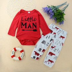 Newborn Baby Boys Long sleeve Rompers Print Tops+Animal Printed pants Outfits Clothes 2PCS Red GX553A 70