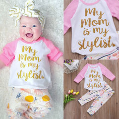 Newest Fashion Newborn Baby Girls Long sleeve Cotton T-shirt Tops+Printed pants Outfits Clothes 2PCS Pink LG038A 70