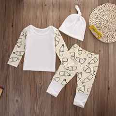 Newest Fashion Newborn Baby Girls Boys Milk bottle Cotton T-shirt Tops+Pants +Hat Outfits Clothes Beige HY006A 70