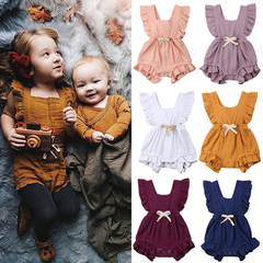 Newborn Infant Baby Girl Ruffle Toddler Romper Bodysuit Jumpsuit Outfits Clothes Dusty pink GX830A 70