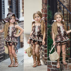 Toddler Kids Baby Girls Lace Sleeveless Floral Clothes T-shirt Top Dress Skirt Shorts Outfit Set Floral GH443A 90