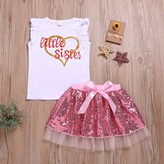 Newborn Baby Girls Sleeveless Lace Heart Outfit Clothes T-shirt Top+ Twinkle Skirts Outfits Set 2Pcs Pink CR062A 70