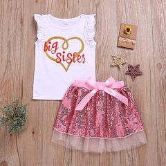 Toddler Kids Girls Sleeveless Lace Heart Outfit Clothes T-shirt Top+ Twinkle Skirts Outfits Set Pink CR062B 80