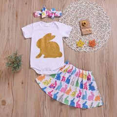 Newborn Baby Girls Short sleeve Rabbit Romper+Rabbits Skirt+Headband Set Outfits Clothes 3PCS White HL012A 70