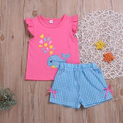 Toddler Kids Baby Girls Whale Fly sleeve Tops+Grid Shorts Bowknot Set Outfits Clothes 2Pcs Pink ML001A 80