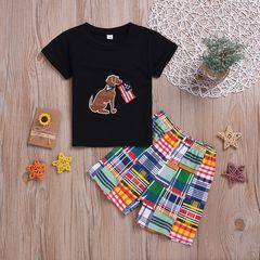 Children clothes Toddler Kids Baby Boys Dog Tops+Grid Shorts Set Outfits Clothes 2PCS Black GG430A 90